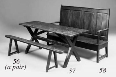A pair of fruitwood benches, F