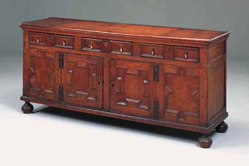 A pine dresser, English, early 18th century