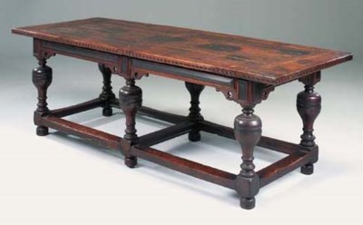 An oak and inlaid six leg refe