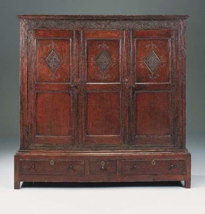 A large oak press cupboard, No