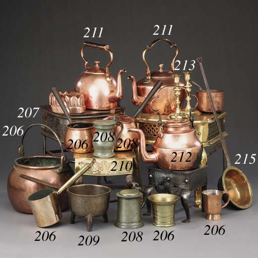 A collection of metalwork, mai