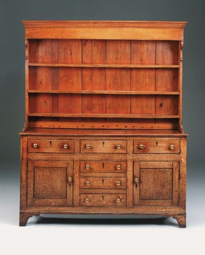 An oak and pine dresser, North