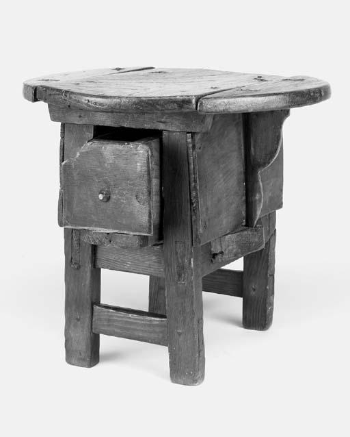 A Swiss pine milking stool, 19