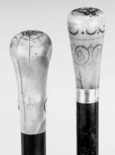 An ivory handled malacca walki