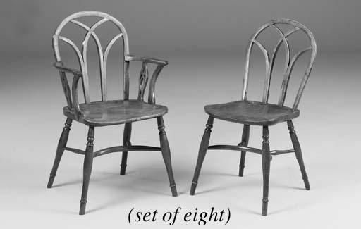 A set of eight yew-wood and elm Windsor chairs, Thames Valley, early 19th century