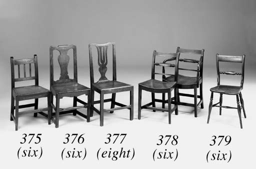 A set of eight elm and beech solid seat chairs, English, late 18th century