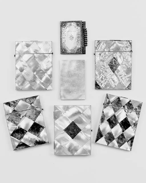 A collection of mother-of pearl card cases, mostly 19th century