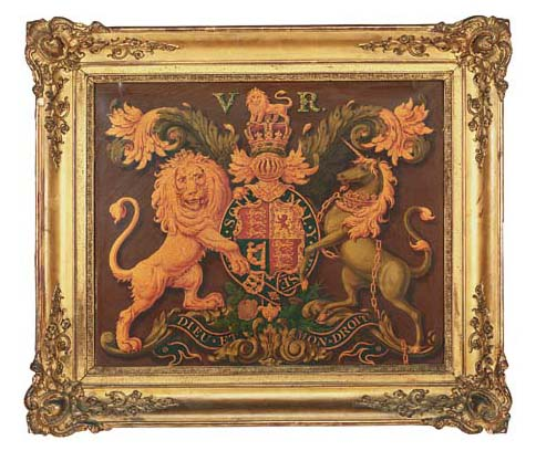 A Victorian painted royal coat-of-arms panel