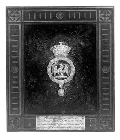 A heraldic carriage panel, lat