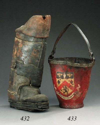 A leather postilion boot, 18th