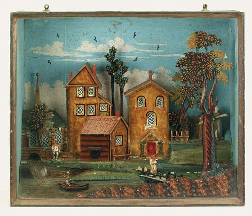 A painted wood diorama, late 1