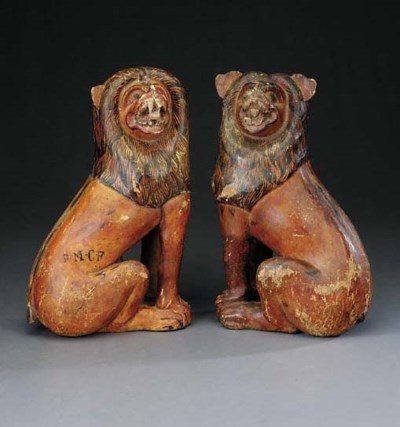A pair of Colonial polychrome