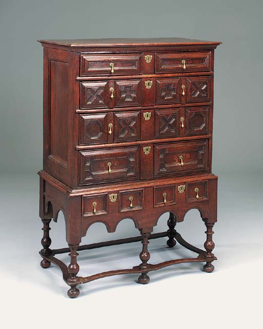 An oak chest-on-stand, English