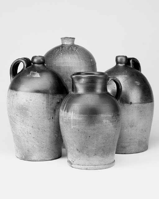 Four stone glazed jars, late 19th century/early 20th century
