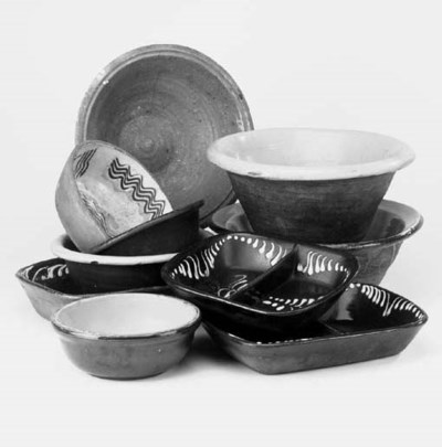 A collection of earthenware gl