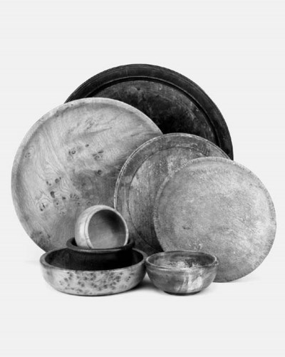 A collection of treen platters