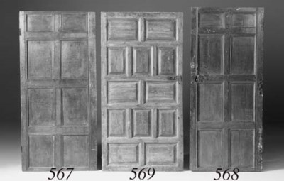 An oak fielded panel door, 17t