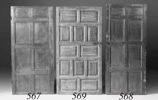 An oak fielded panel door, 17th century