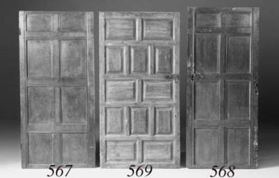 An oak fielded panel door, 17t