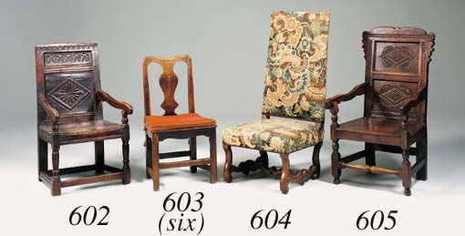 A set of six oak solid seat di