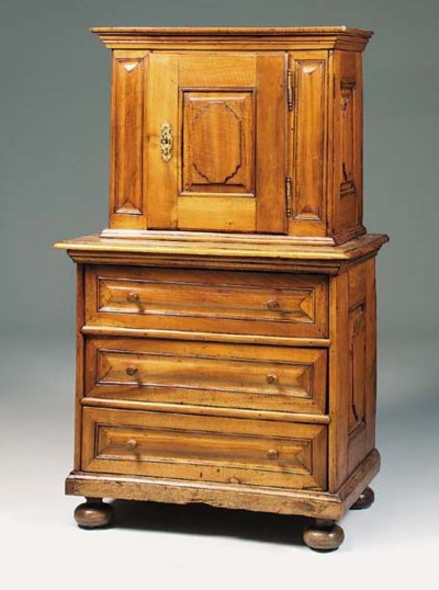 A walnut, pine and fruitwood c