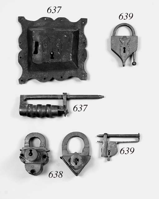 Two German wrought-iron padlocks, probably 17th century