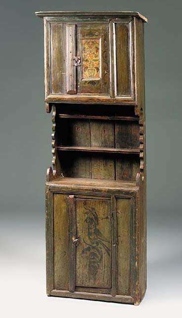 A painted pine dresser, Swiss,
