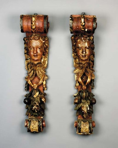 A pair of polychrome and parce
