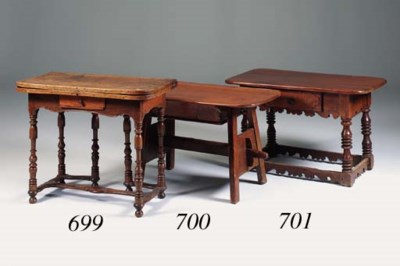 A fruitwood and pine table, Sw