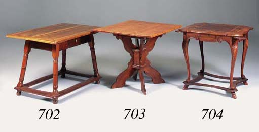 A fruitwood and pine centre table, Swiss, 19th century