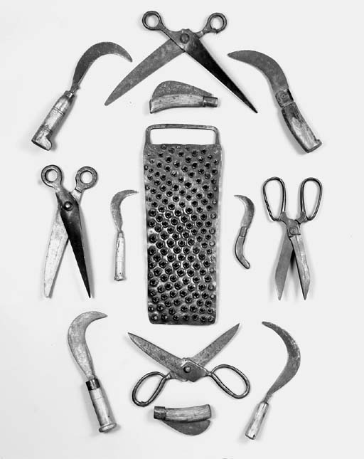 A collection of Continental wrought-iron and treen domestic and horticultural utensils, mainly 19th century