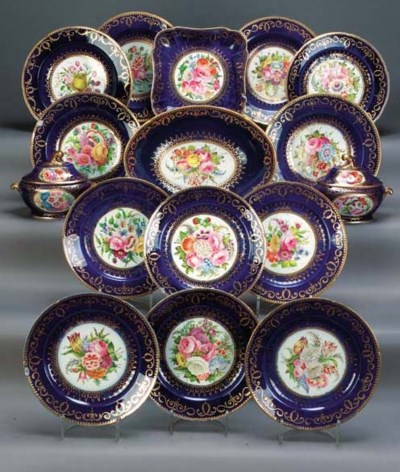 A Coalport dark blue-ground pa