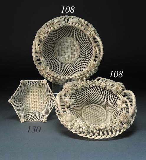 A Belleek three-strand circular basket