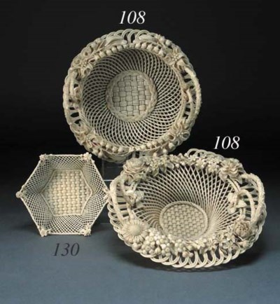 A Belleek hexagonal three-stra