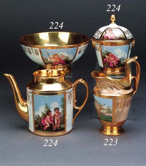 A Paris Empire style cylindrical teapot and cover