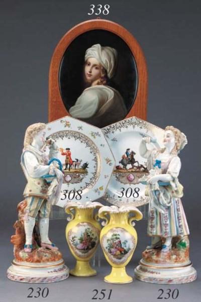 A pair of French porcelain fig