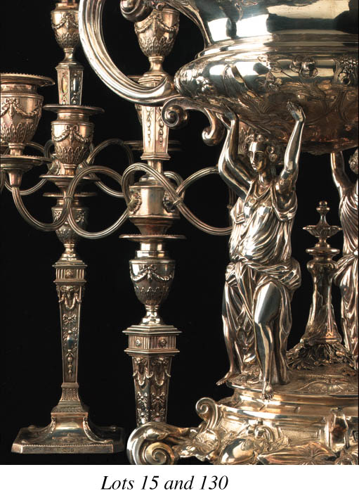A pair of Edwardian five-light Adams' style candelabra,