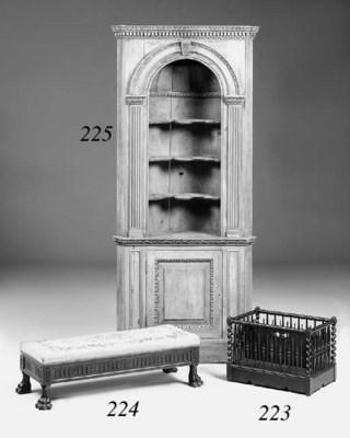 A mahogany long stool, late 19