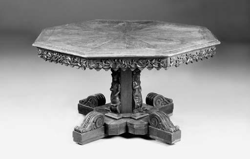 A North European octagonal oak centre table, mid 19th century