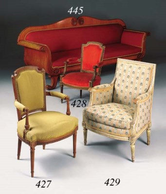 A Biedermeier birchwood sofa