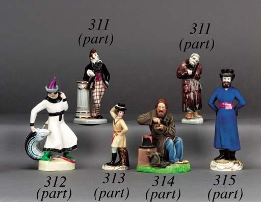 Three glazed porcelain figurin