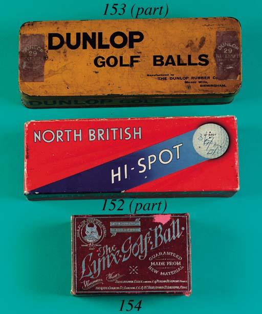 A DUNLOP PAINTED TIN GOLF BALL