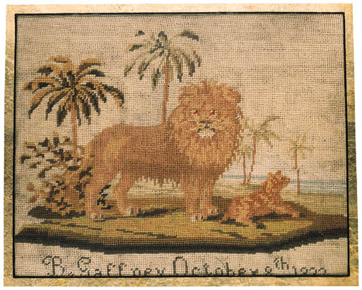 A needlework picture, worked i