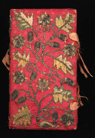 A needlework binding, of red s