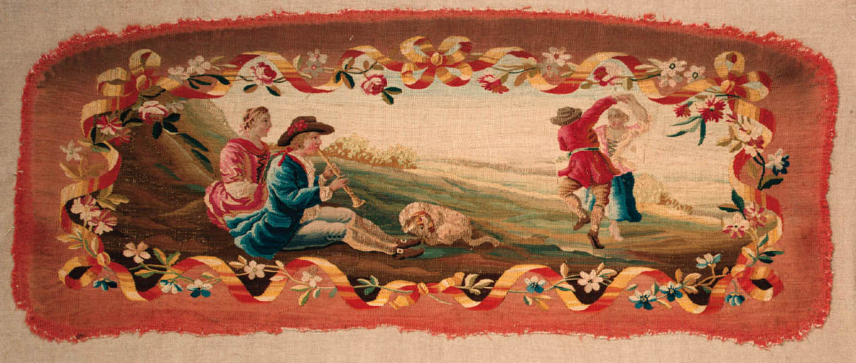 A tapestry sofa back cover, wo
