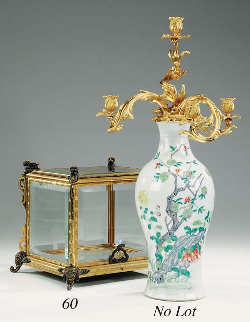 A French glass and bronze tabl