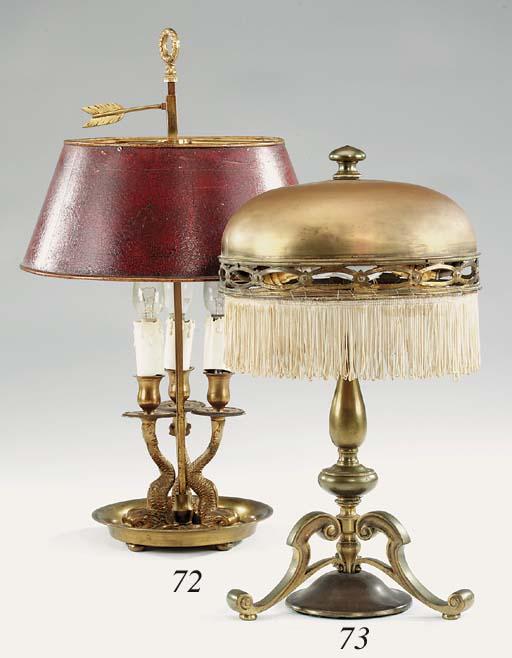 An Edwardian brass table lamp,