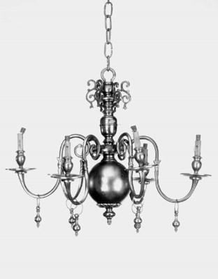 A Dutch style brass six light