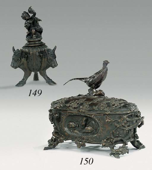 A Paduan style bronze ink well
