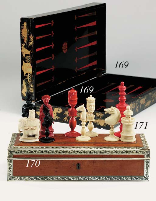 Various chess and games pieces